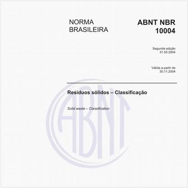 ABNT NBR 10004 classificacao de residuos